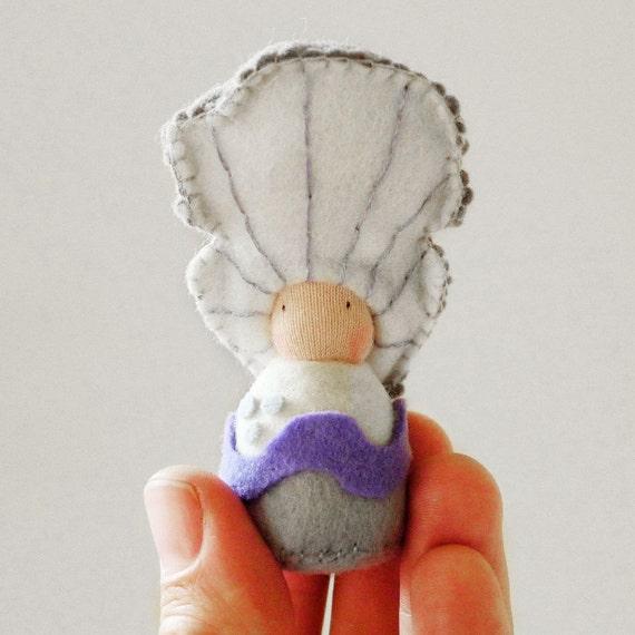 Mushroom Plush soft felt toy doll, Organic, Waldorf, Eco friendly natural toy - Professor Plurotus