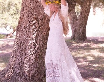 Bridal Dress Short Lace Cream Off White Ivory by DaughtersOfSimone