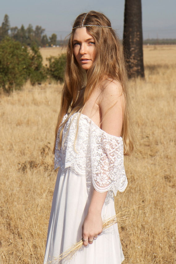 White Wedding Hippie Dresses s Hippie Wedding Gown