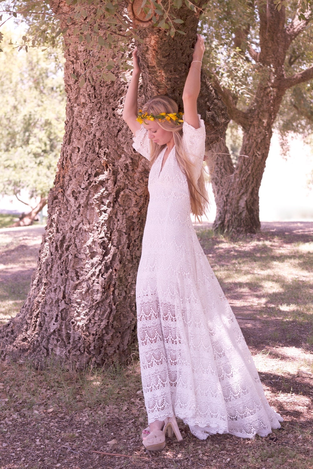 Vintage looking wedding dress white ivory cream crochet Hippie vintage wedding dresses