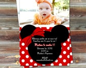 Minnie Mouse Birthday Photo Invitation