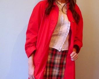 80s oversized red cotton raglan sleeves raincoat FR38/UK10