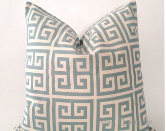 SET OF TWO 16x16  o 18x18 Greek Key Decorative Pillow Cover -Sage Blue Or Tan  - Medium Weight Cotton- Invisible Zipper Closure- Cushion