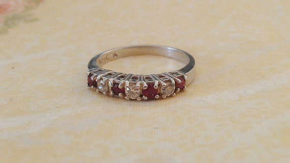 Vintage 925 Ring with Rubyand CZ Stones SZ 7