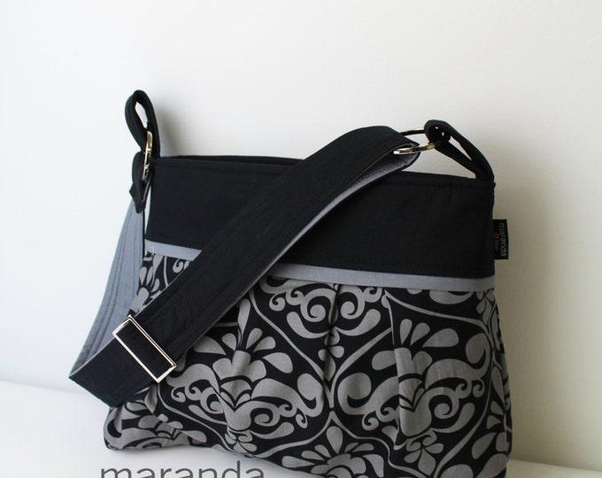 Stella Diaper Bag Medium Cross Body -  Gray Damask and Gray -  Custom Messenger Bag Nappy Bag with Elastic Pockets