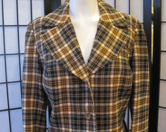 Vintage 1960s 1970s Pendleton Plaid Wool Suit Jacket Skirt Black Winter White Ivory Tan Yellow Ochre Mustard Medium 2 Piece 37 Bust M L NOS