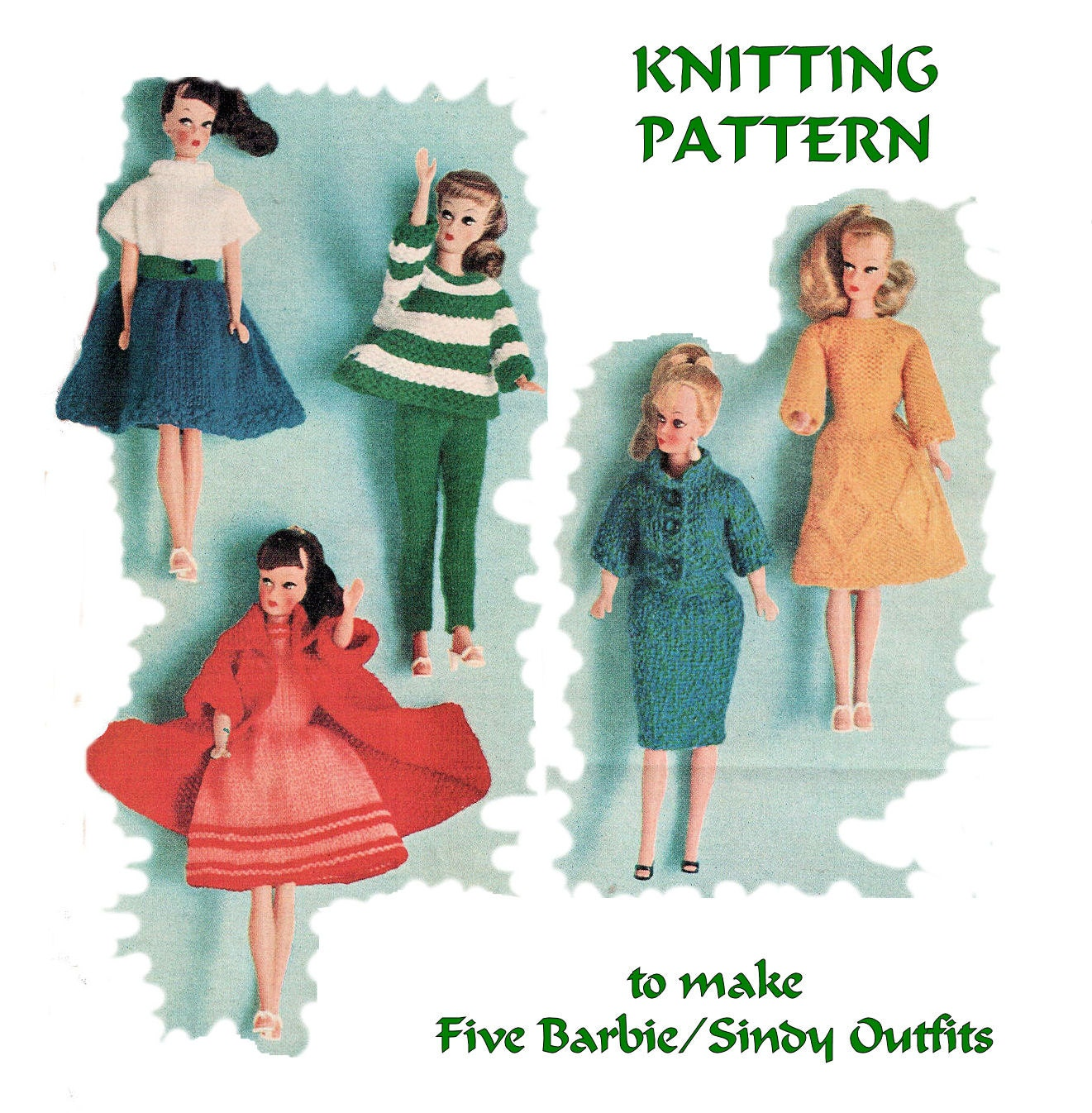 Instant Download PDF Sixties KNITTING PATTERN to make Barbie