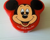 Vintage Mickey Mouse Shaped Box Lid Jewelry with Mirror Trinket Box