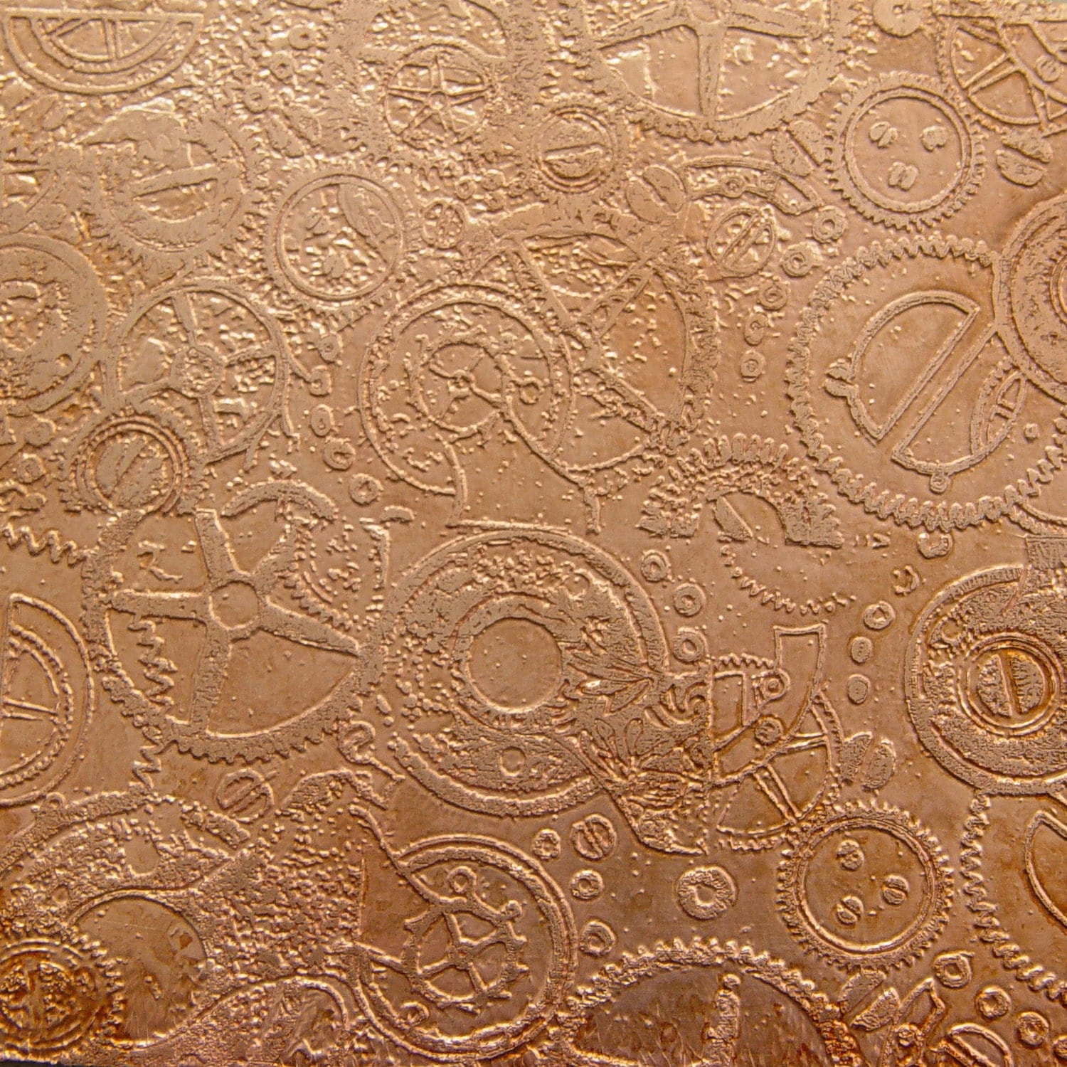 Etched Copper Sheet Steampunk Circles Cogs Gears 4x3