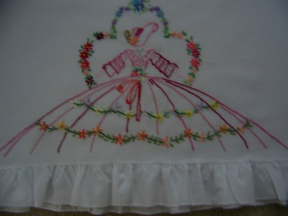 Vintage Pink SOUTHERN BELLE Hand Embroidered Pillowcase