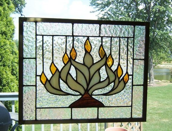 Menorah stained glass panel window Hanukkah Chanukah stained glass window panel window hanging holiday decor