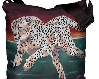 Cheetah Large Bucket Handbag -  From my Original Oil Painting, Twilight Run - Salvador Kitti