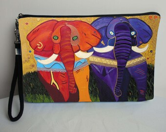 Elephants Pouch with detachable strap  -Support Wildlife Consevation, Read How -  From my Original Oil Painting, Pride