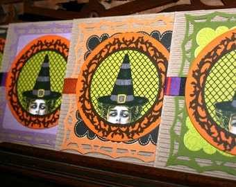 Handcrafted Blank Funky Witch Cards, Halloween, Fall Birthday, Thinking of You