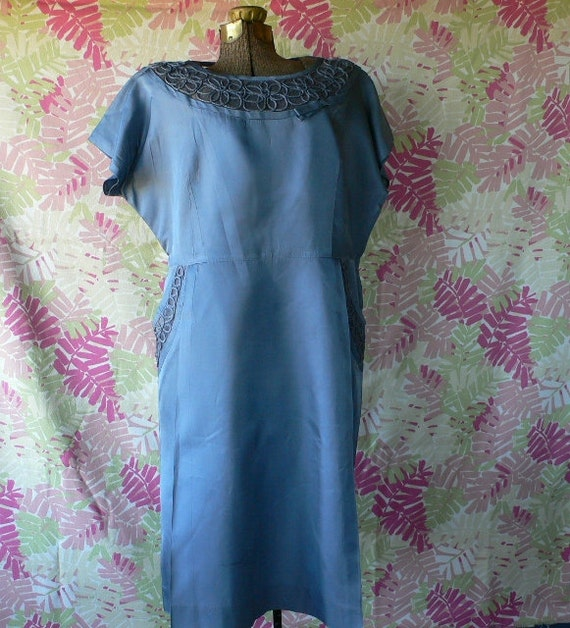 vintage party dress slate blue satin fancy dress up 38 inch waist from Diz Has Neat Stuff