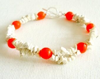 Orange Bracelet - Gemstone Jewelry - White Turquoise Jewellery - Tangerine - Jade - Boho - Resort - Hipster - Neon - Modern B-330