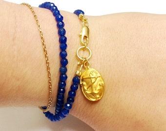 Cobalt Blue Bracelet - Jade Gemstone Jewelry - Wrap Jewellery - Gold Anchor Charm - Nautical - Modern