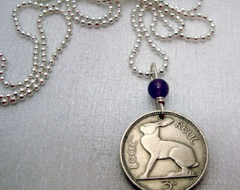 Rabbit necklace - Coin Jewelry - Vintage IRELAND RABBIT coin necklace - Irish hare - harp - celtic - Year of the Rabbit