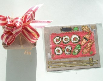 Blank greeting card or invitation - Sushi, bronze chopsticks - art greeting card