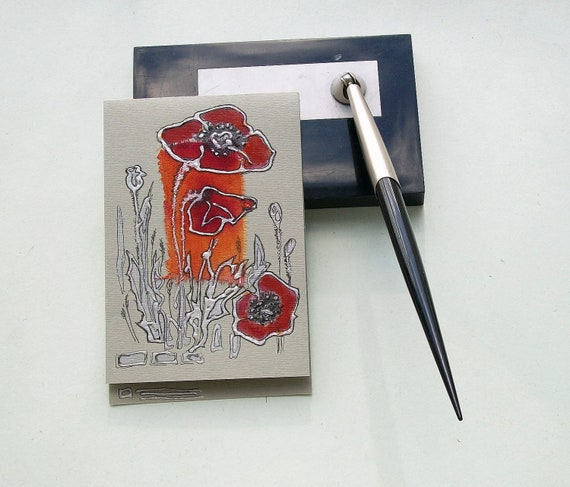 Hand panited blank greeting card - Coral red poppies - art greeting card for any event