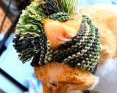 Mohawk Cat Hat - Camouflage / Camo - Hand Knit Cat Costume (READY TO SHIP)