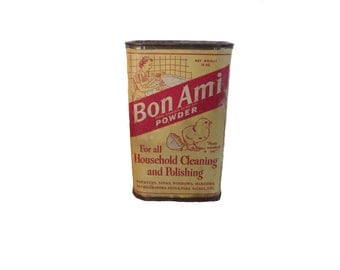 Vintage Bon Ami Powder Tin Rustic Decor Red Kitchen Metal Tin Shabby Tin