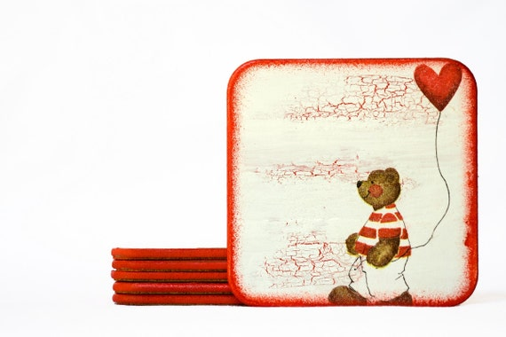 BEARS LOVE, Rustic Love Coasters, Wood Wooden Rustic Coaster Set of 6, Square Coasters Red & White, Valentines Days Gift