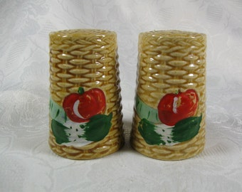 Vintage Ceramic Salt & Pepper Shakers Basket Weave with Hand Painted Red and Green Vegetables