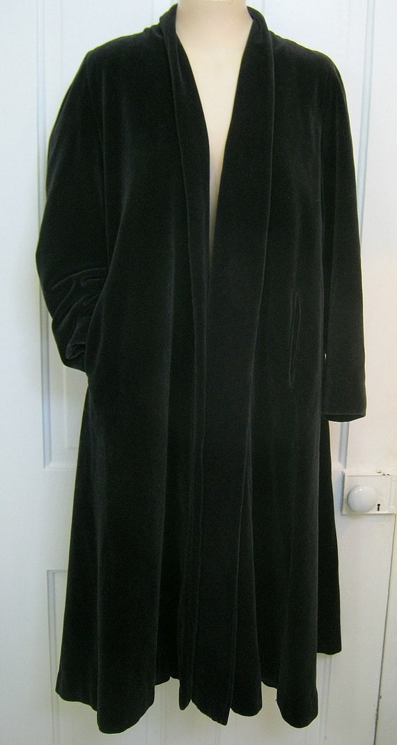 Vintage Black Velvet Swing Coat Mad Men By