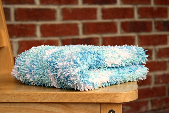 Baby Blanket Newborn Photo Prop Blue and White Faux Chenille Ready to Ship