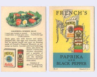 Culinary Ephemera, French's Paprika and Black Pepper Recipes, Cooking  Brochure, 1926 Vintage Promotional Advertising Leaflet