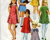 vintage 1970 girls DRESS simplicity sewing pattern 8621 size 10 retro PRINCESS seaming peter pan collar MOD uncut