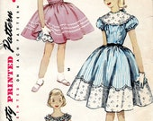 vintage 1950s girls DRESS simplicity sewing pattern 1106 size 10 pretty PARTY yoke gathered skirt PUFF sleeves uncut