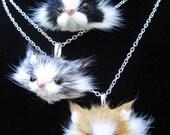 Adorable Fur Cat Face Necklace