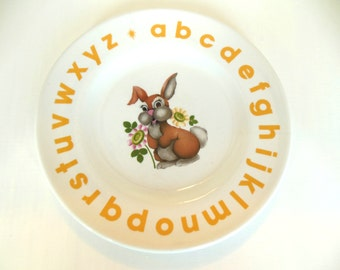 Vintage Child's Plate Alphabet Bunny Wood and Sons English 1940's - 50's (item 5)