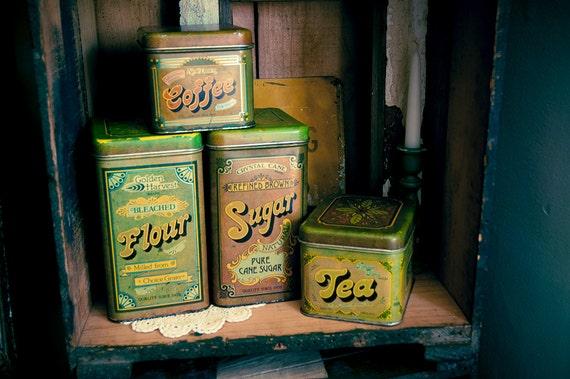 4 Piece Vintage Kitchen Tin Canister Set/ Nesting Tins
