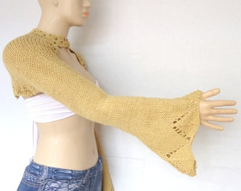 hand-knitted Honey shrug bolero long sleeves S M L