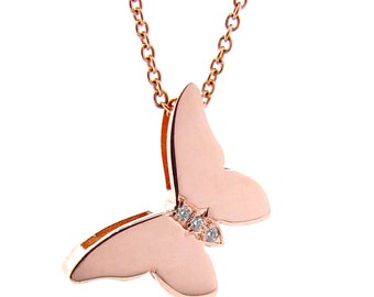 Butterfly Necklace, Solid Rose Gold and Diamond Butterfly Necklace