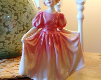 Vintage Royal Doulton Figurine Sweetling Girl in Pretty Pink Gown HN 1935