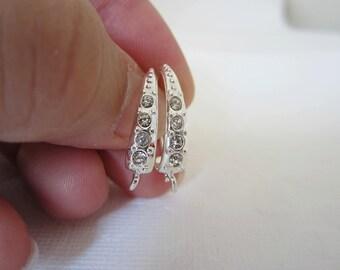 4 Pcs - Silver Plated Cubic Zirconia (CZ) Hook Earring Findings, Earrings, Earwire, Ear Wire - (25x15MM) AML006