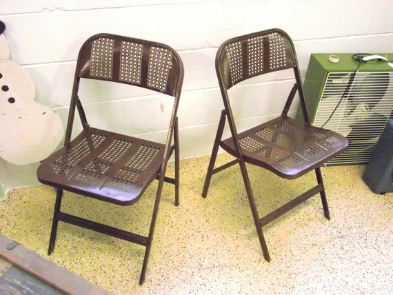 2 Metal Folding Chairs Industrial Wwii Era By Oldmillvintage