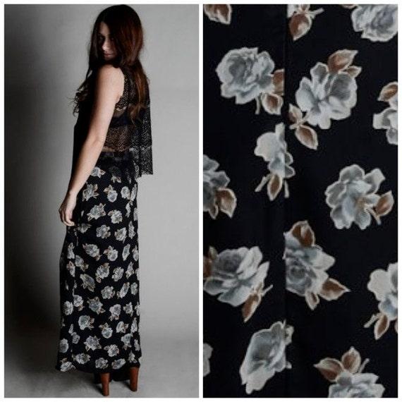 Vintage 70s Black Floral Full Maxi Skirt S/M