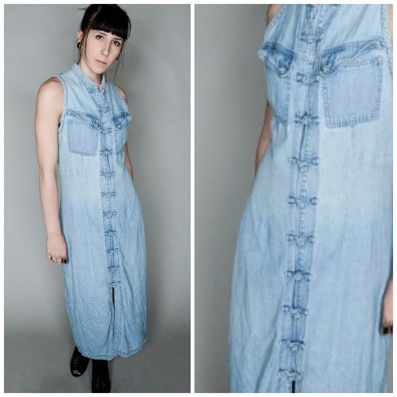 Vintage 90's  Grunge Denim Maxi Dress/ Duster S/M