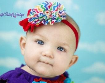 Rainbow Birthday Baby Headband- Birthday Photo Prop- Sesame Street- Rainbow Brite- Circus Themed Birthday Party- Girl, Toddler, Baby