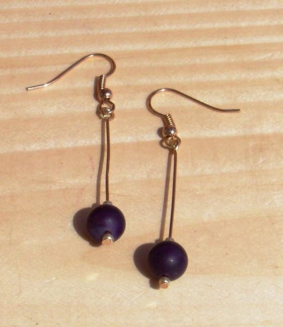 Banded Agate Amethyst Elegant Dangle Earrings