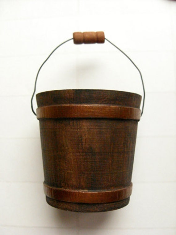 wood bucket rustic bucket autumn decor fall wedding