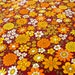 """Vintage Fabric - Orange, Gold, Yellow Daisies & Mums -  36""""L x 44""""W - Retro Sewing Material"""