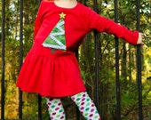 Girls Christmas Tree Long Sleeve Jersey Cotton Dress