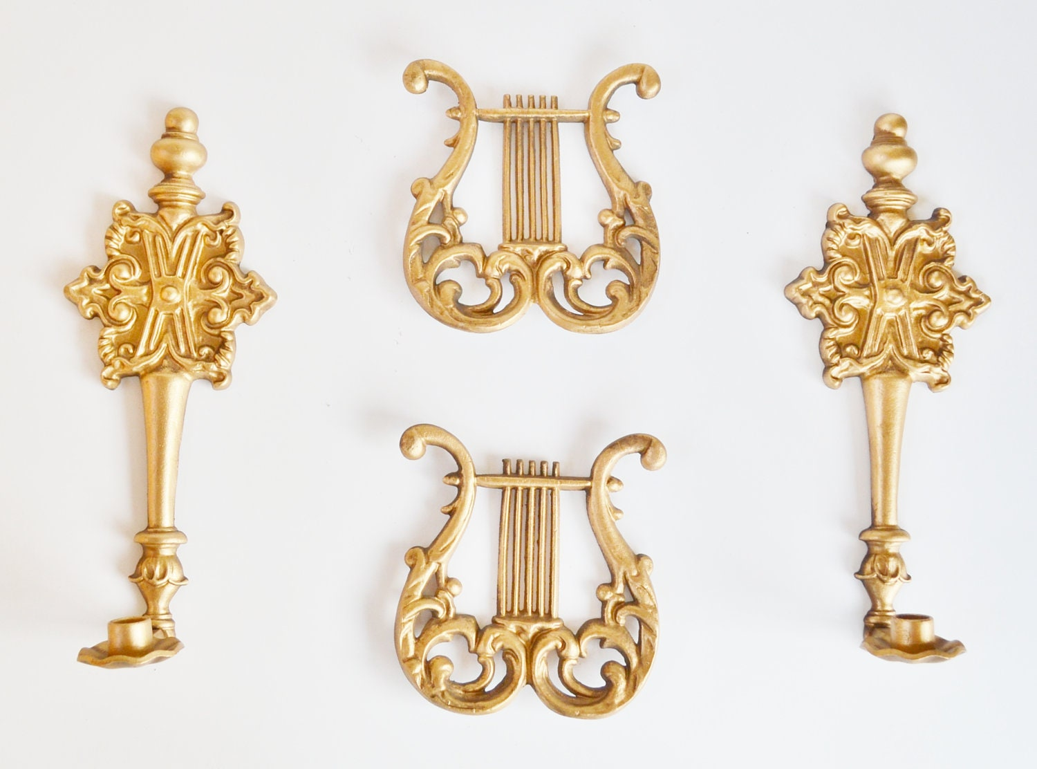 Wall Sconces Gold : Wall Sconces Candle Holder Wall Sconce Gold Harps Wall
