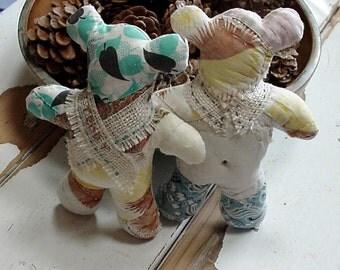 Patchwork Teddy Bear Doll Pillows, Old Vintage Quilt Shabby Stuffed Teddy Bear Couple, Wedding Cake Topper, Farmhouse Decor itsyourcountry